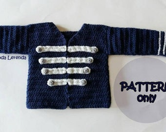 PATTERN of GIGI crocheted military jacket, in Spanish and English. Crochet cardigan. Crochet tutorial with instructions.