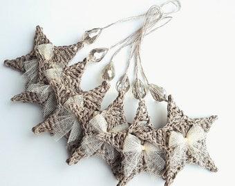 Crochet Christmas ornaments, crochet Christmas stars, Christmas decoration crochet, handmade decorations, holiday ornament, Christmas shop