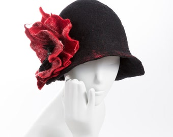 Felted hat / Black hat with a red flower / Wool and silk / Cloche hat / Nuno felt / Silk hat / Wol and silk /Unique item / / Free shipping.