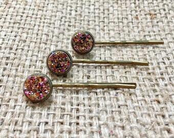 Rose Gold Bobby Pin, Druzy Hair Pin, Metallic Hair Pin, Rose Gold Hair Pin, Faux Druzy Hair Pin, Gemstone Hair Pin, Druzy Bobby Pin