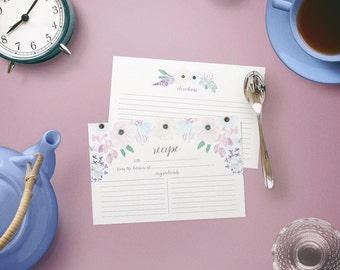Recipe Cards Set of 15, 30, 50, 75 or 100 - Pale Blue Coral White Floral Bunch Design - 4x6 Recipe Cards - High Quality Linen Cardstock
