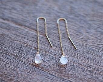 Moonstone Drops Threader Earrings // Moonstone Earrings // Bridal Jewelry // Bridesmaid Gifts