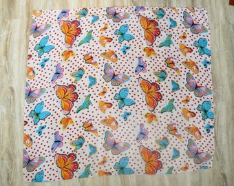 Butterly shawl - vintage scarf, big shawl white blue red yellow