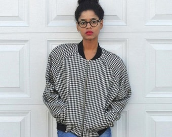 Vintage 80s  Plaid Jacket 80s Windbreaker Preppy Linen Jacket Black White Plaid Jacket Womens Mens Fall Jacket