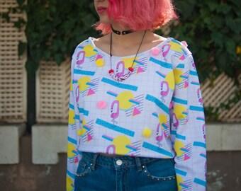 Flamingo sunrise cropped loose oversized sweatshirt with large pom poms