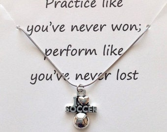 soccer necklace, soccer jewelry, message card jewelry, soccer gift, sports necklace, sports jewelry, soccer player gift, sport birthday gift