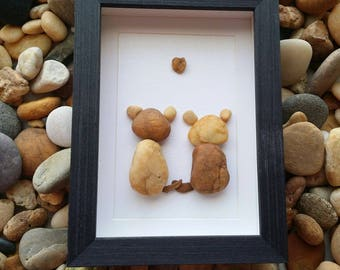 Rocks cats art, cats lovers gift, pebble cats, unique gift