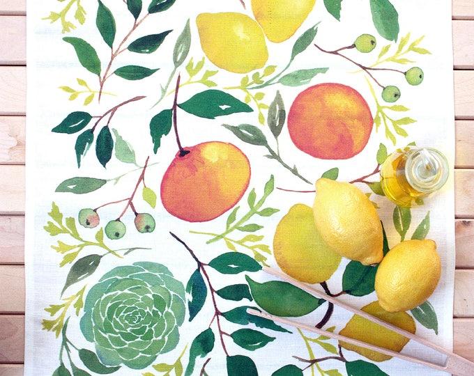 Paño de cocina o lienzo decorativo, pintura en acuarelas impresa en lino.  Es una idea de decoración original. LIMONES Y ALCACHOFA