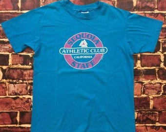 Vintage 80s Athletic Club Shirt Mens Size L Large Tee T-Shirt Made in USA Sequoia California 1980s Soft Thin Cotton Shirt Light Blue & Pink
