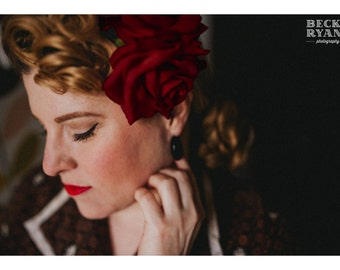 """Rose hair clip - the """"Rosalita"""" - Double rose pin up hair flower, hair clip, vintage style, 1940s, 1950s - DEEP RED - 7 other colours availa"""