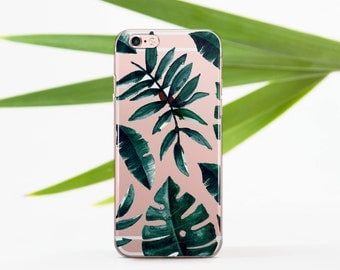 Tropical Leaves iPhone SE Case Clear iPhone 6 Case Summer Tropics iPhone 6 Plus Clear Case Leaves iPhone 6s Clear Case iPhone 5s 696D1_069