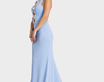 Blue chiffon dress, Blue trumpet dress, Bridesmaid dress, Mother of the bride dress, Blue prom dress, Open back dress, Long evening dress