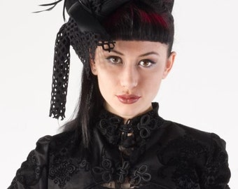 Ladies elegant veil and flower dressage  hat