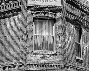 art print photography jerome arizona building architecture brick hotel history black white places home decor