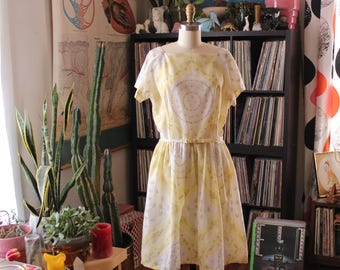 "1950s L'Aiglon dress . sheer yellow and white shirtwaist dress . fit and flare summer dress . womens large . waist 31"""