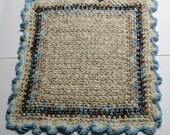 Cat or Small Dog Blanket - Comforter - 24 x 24 Double Stranded, Crocheted, Creams, Blues, Browns, Tans, Ruffled Helps Rescue Dogs