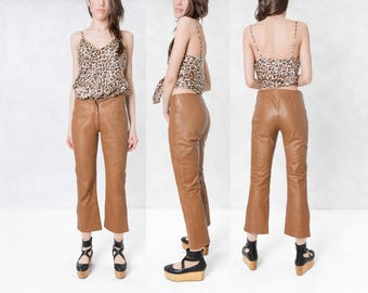 LEATHER PANTS cropped capris soft BROWN 90s vintage wilsons Small Xs women / size 4 / waist 26 / pelle studio