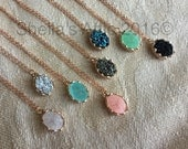 Rose gold Druzy Necklace, rose gold necklace, rose gold druzy, Faux Druzy Necklace, Druzy Pendant, Boho Jewelry, Druzy Necklace