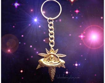 UFO Alien Pot leaf keychain, 420