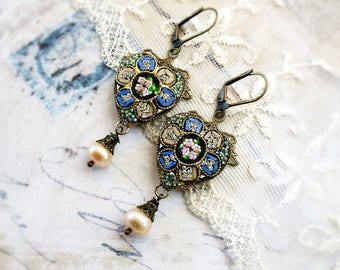 The Heart of Rome, Rare Vintage 1940s  Pink & Blue Floral Micro Mosaic Hearts ,Genuine Pearl Filigree Earrings by Hollywood Hillbilly