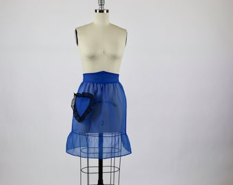 1940s Apron / Blue Apron / Sheer Apron / 40s Apron 1950s Apron 50s Apron / New Old Store Stock Apron Deadstock Ruffle Heart Rockabilly Pinup