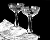 Vintage Etched Stemware Champagne Glasses Coupe Glasses Hollow Stem Champagne Coupes Wedding Toasting Glasses Morgantown