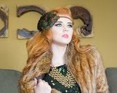 Green Gatsby Head piece for New Years Eve Gatsby Dress, Roaring 20s Gatsby Headpiece, Bronze Roaring Twenties Headband Women Flapper Costume
