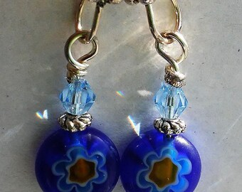 Ayla's Bead Creations Millifleur and Butterfly blue earrings.