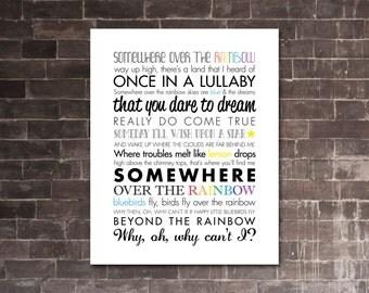 "WIZARD of OZ ""Somewhere Over the Rainbow"" | PRINTABLE Song Lyrics Artwork | White & Color"