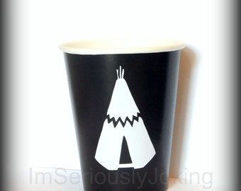 Tee pee cups-Tribe theme party-brave warrior-hipster cups-Little Man Party-Little Man-Brave little warrior- baby Shower-Onesie-baby costume