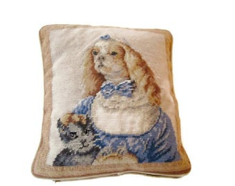 Vintage Needlepoint Pillow King George Dog and Black Cat Handmade 1950s
