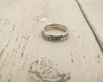 small rings, silver rings, stack rings, stackable rings, ring set, kiss ring, stripey ring, antiqued ring, grey ring, stacking rings