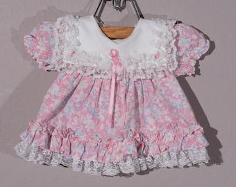 6-9mo: Vintage Baby Girl Double Ruffle Dress, 1990's Baby Girl Ruffled Dress, Pink Ruffled Easter Dress