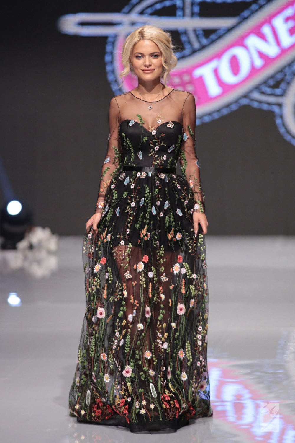 Embroidered formal dress floral maxi evening