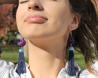 Fringes earrings, Purple fringes, Skull earrings, Large earrings, Purple earrings, ethnic earrings, Statement earrings, gifts for her