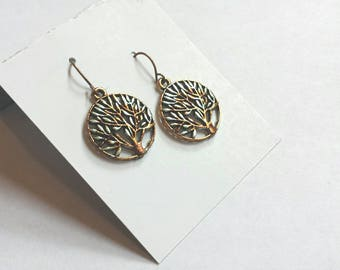 Tree of Life Jewelry, Multicolored Metal Artisan Earrings, Alcohol Ink Silver Accessories, Green and Copper Ornate Outdoor Bronze Trees.