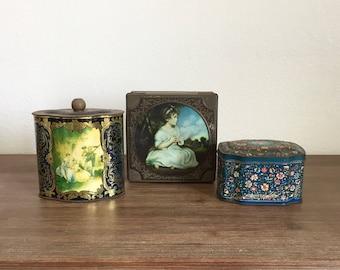 Vintage Metal Tins; Decorative Tins; Stash Box; Jewelry Box; Trinket Boxes; Vintage Candy Tins; Tin Boxes; Metal Storage; Victorian Style