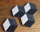 Mod Illusion Felt Coasters (Set of 4) – Cork Base, Felt Tile Pattern Felt Tableware, Modern Minimalist Design, Hex Coasters, Felt Decoration