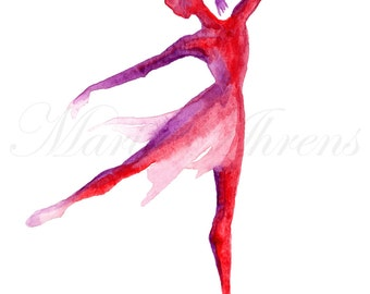 Ballet Dancer Print, Dance Print, Ballet Print, Giclee Print, Watercolor Print, 8x10 Decor Wall Art Print, Red and Purple Watercolor Artwork