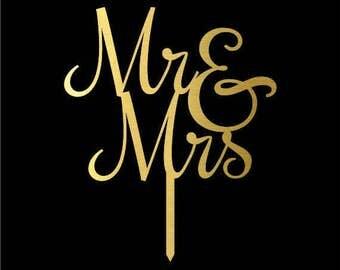 Custom Wedding Cake Topper, Mr and Mrs Gold Wedding Cake Topper, Wedding Decoration, Modern Wedding Anniversary Cake Topper