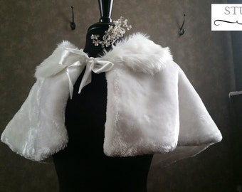 Faux Fur Cape Winter Wedding Shoulder Wrap in Ivory Bridal Stole