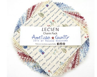 """Lecien 5"""" x 5"""" Charm Pack - American Country XVI L3032-02CP, 42 pieces"""