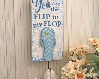 Flip Flop Decor, Flip Flop Sign, Beach Towel Hook, Tropical Decor, Coastal Towel Holder, Beach Key Holder, Beach Towel Holder, Bathroom Hook