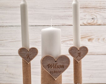 Wedding Candles Personalized Unity Candle Set Wedding Unity Candles Unity Ceremony Set Rustic Candles Heart Family Candles for a Vow Renewal