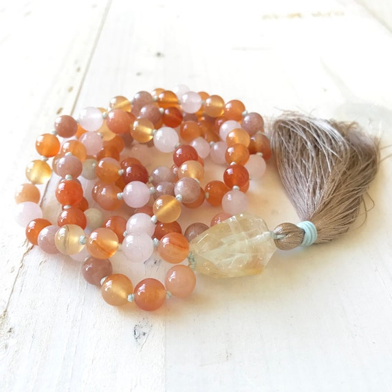 Carnelian Mala Necklace, Aquamarine And Rose Quartz, Citrine Mala, Mala For Happiness & Joy, Creativity Mala Beads, 108 Bead Mala