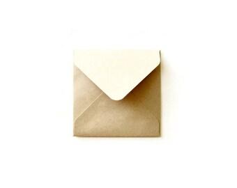 2x2 3x3 4x4 5x5 card envelopes/ Kraft Square Envelope/ Various Square Envelope Sizes / Recycle Kraft / Set of 12