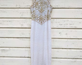 """Brilliant Full Length White Sequin Gown/Sequin Wedding Gown/Full Length Gold Sequin Cocktail Gown/Ball Gown/Sequin Prom Dress/Size S/58""""Long"""