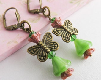 Green butterfly earrings, dangle earrings, whimsical jewelry, colorful earrings, gift for her, nature inspired jewelry