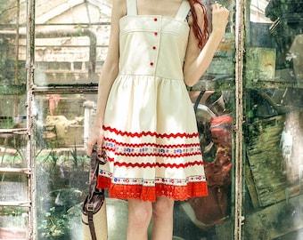 pinafore dress, pinafore, 1960s, overall dress, embroidered dress, button dress , medium
