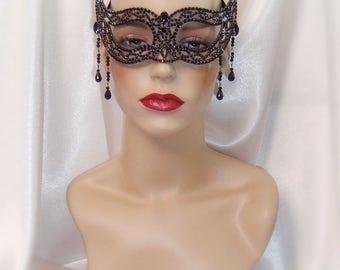 Black Crystal Metal Masquerade Mask, Mardi Gras Mask, Venetian Mask, Masquerade Mask